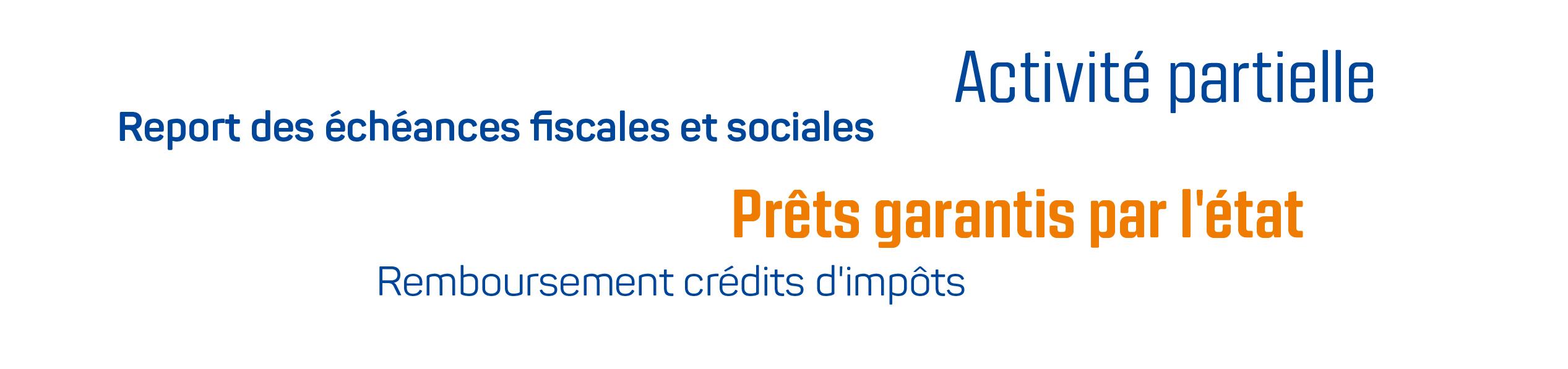 Report des échéances fiscales et sociales - Activité partielle - Prêts garantis par l'état - Remboursement crédits d'impôts